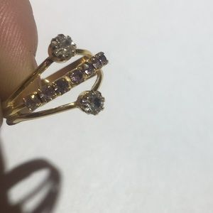 Vintage gold rhinestone adjustable ring